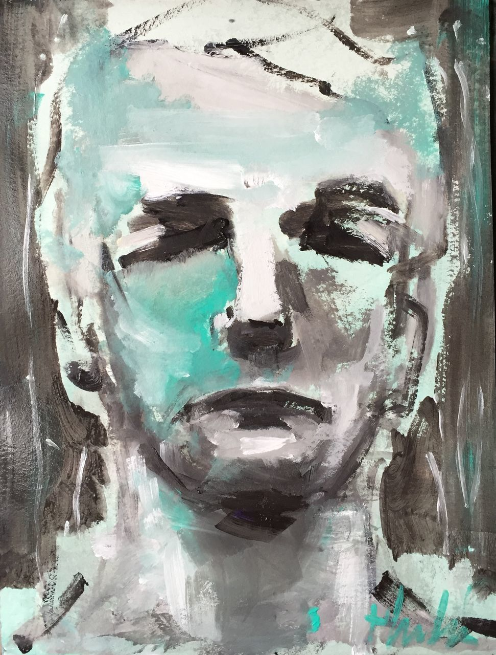paint, human face, close-up, indoors, day, people