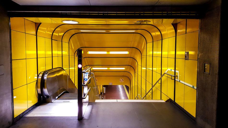 Bonn Modern Museumsmeile No People Railings Staircase Steps And Staircases Subway Station U Bahn U Bahnhof Yellow