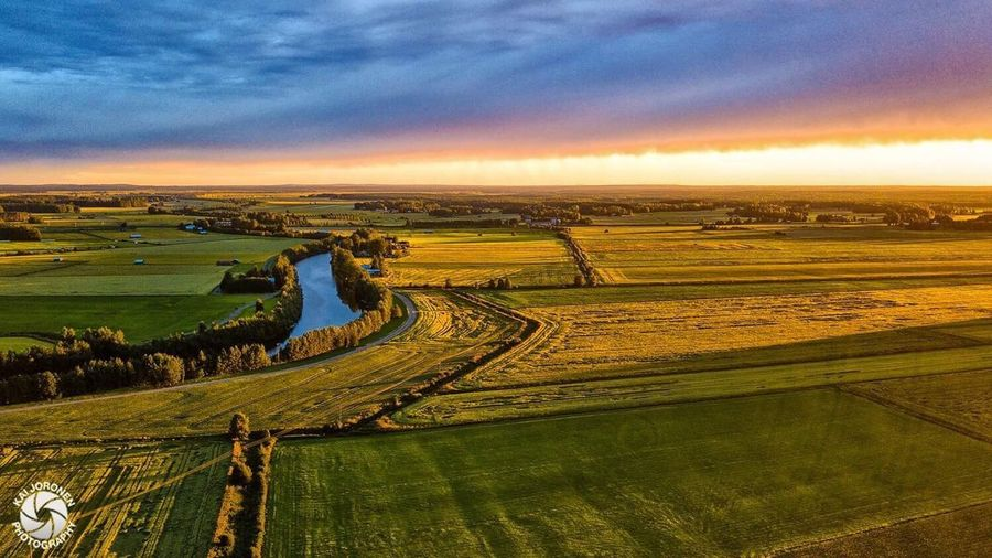 Aerial photo from Southern Ostrobothnia in Finland Landscape Cloud - Sky Field Beauty In Nature Sunset Outdoors Agriculture Scenics Visitfinland Dronephotography Mavicpro River