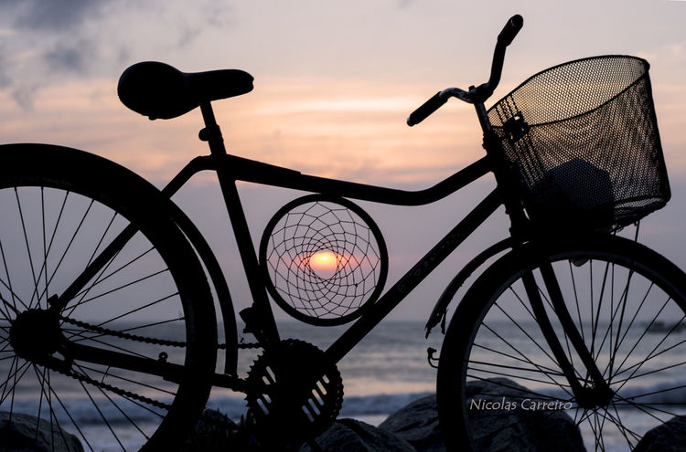 #bicycle #bike #colors #morning Light #silhouette #sky #Sunrise Basket Bicycle Bicycle Basket Close-up Day Land Vehicle Mode Of Transport Nature No People Outdoors Sky Stationary Sunset Transportation Wheel
