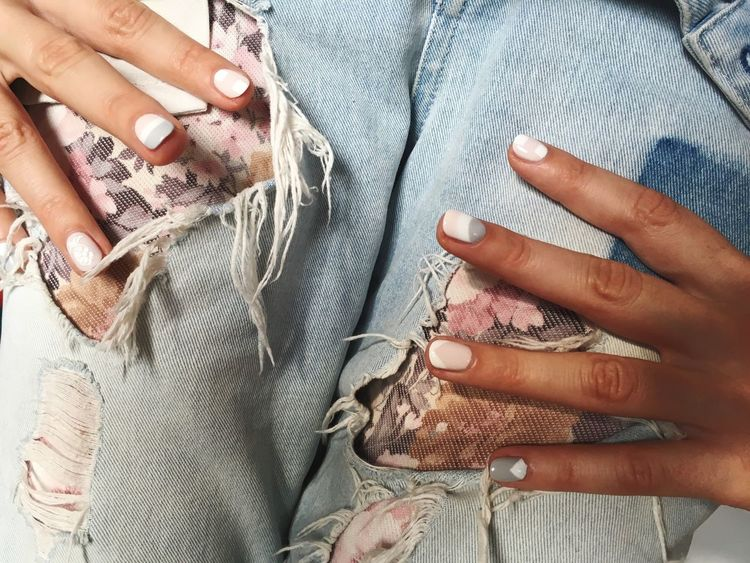 Pastel Power Bright Pastels Pink White Grey Jeans IPhoneography Torn Acrylic Nail Art Manicure Nailpolish