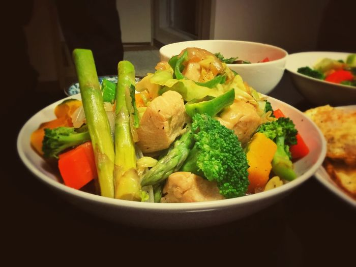 Vegetarian Food Half Cooked Asparagus Pumpkin Chicken Brest Cabbage Freshness Good Benefits