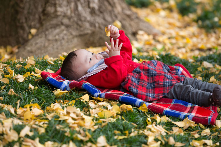 Baby girl lying at park during autumn