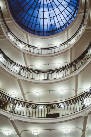 Indoors  Built Structure Ceiling Low Angle View Architecture Pattern No People Arts Culture And Entertainment Lighting Equipment Decoration Dome Illuminated Balcony Design Travel Destinations Shape Railing Ornate Hanging