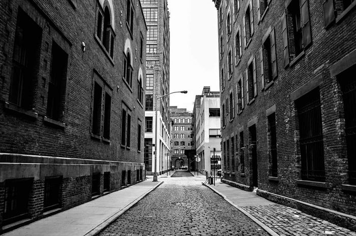 City Get Lost NYC Photography Black And White Light And Shadow United States New York City Cityscape Contrast Tribeca Cobblestone Streets NYC Street Photography Downtown Manhattan Bricks NYC Street No People