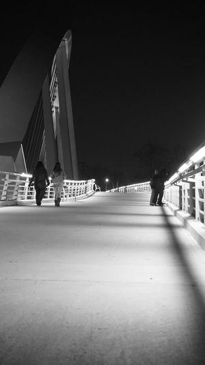 Illuminated Journey Bridge Bridgesaroundtheworld Black And White Photography Night Photography Street Photography