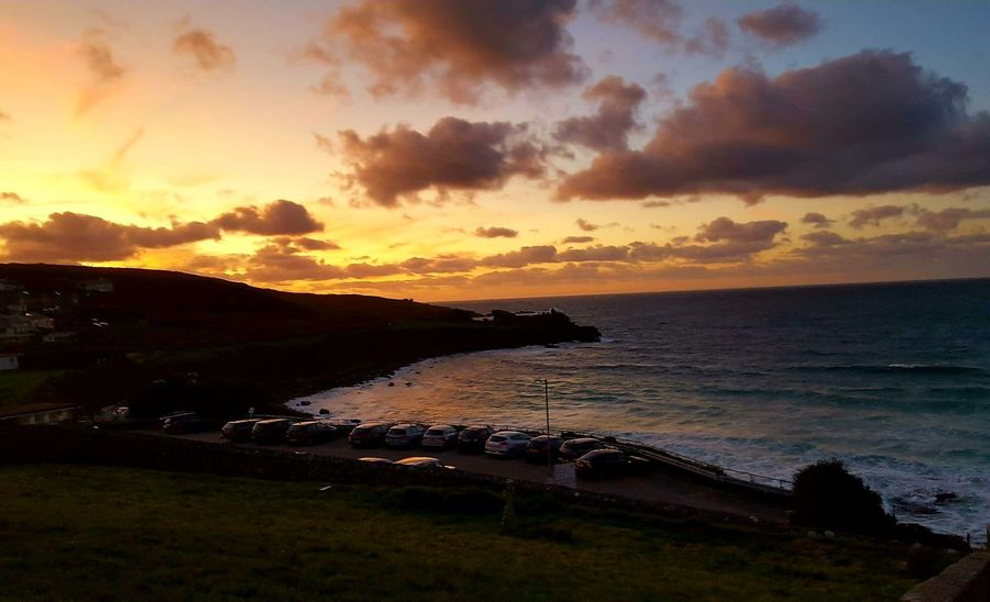 St. Ives Cornwall Sea Dramatic Sky Beach Sunset Cloud - Sky Travel Destinations Vacations Horizon Over Water Nature No People Silhouette Landscape Scenics Tourism Beauty In Nature Water Sky Outdoors Sunlight Tranquility