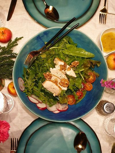 Salad Salad Time No People No Person Night Egg Yolk Plate High Angle View Table Egg Close-up Prepared Food Served Ready-to-eat Dish Greek Salad Serving Size
