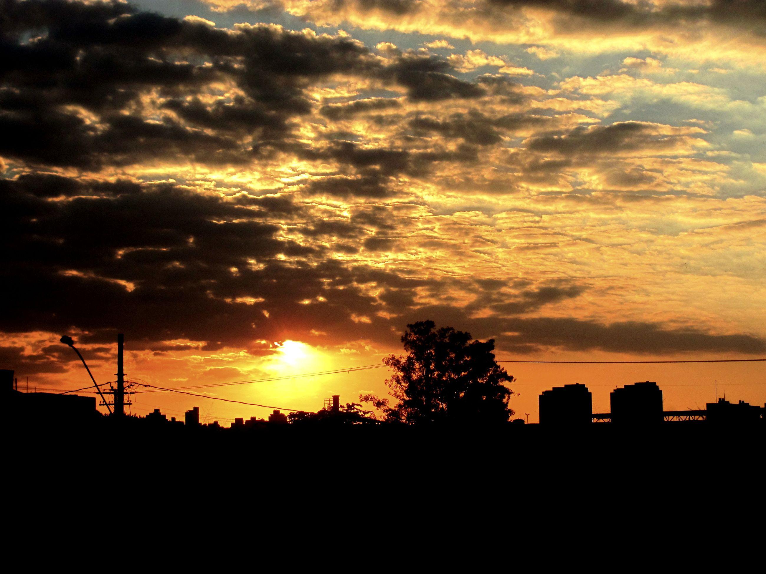 sunset, silhouette, sky, orange color, beauty in nature, tree, nature, cloud - sky, sun, scenics, no people, outdoors, landscape, technology, electricity pylon