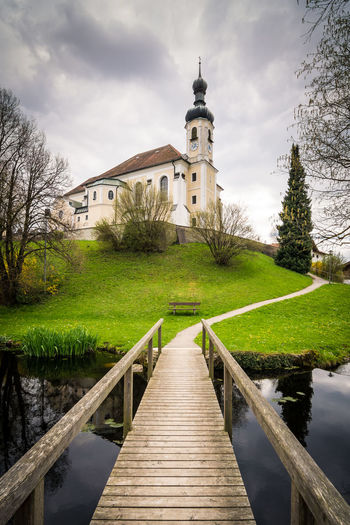 Path to the church Architecture Bavaria Boardwalk Breitbrunn Chiemsee Church Clouds Cloudy Deutschland Europa Europe Germany Kirche Landscape Landscapes Oberbayern Path Religion Scnery Spring Springtime St Johannes Travel Village Way