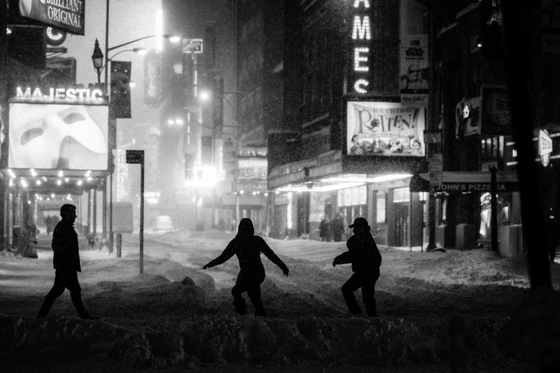 Blizzard Of 2016 Broad Hell's Kitchen Majestic Theater  New York Ci Phantom Of The Oper Street Photography Times Sq Winter Storm Jonas Pedestrian First Eyeem Photo
