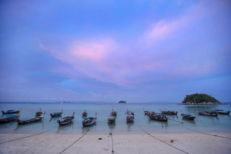 Lipe Island, Satun, Thailand. Beach Beauty In Nature Boats Lipe Island Nature Outdoors Satun_Thailand Scenics Sea Sundown