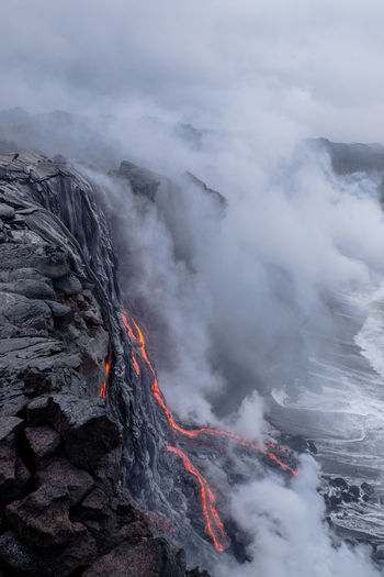 View of lava on volcanic crater