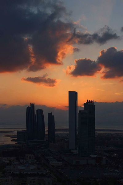 Sunset Cityscape Urban Skyline Skyscraper City Dusk Outdoors Cloud - Sky Modern Sky Travel Destinations No People Downtown District Nature Day Sunset SubahanaALLAH Street Photography Abudhabi Building Exterior City Etihadtower ETIHADTOWERS Hightops Secretgarden Miles Away