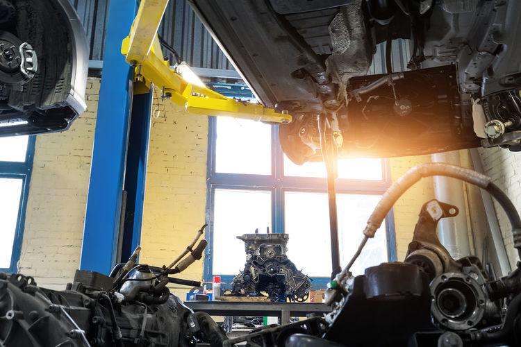 View of machine part through car window