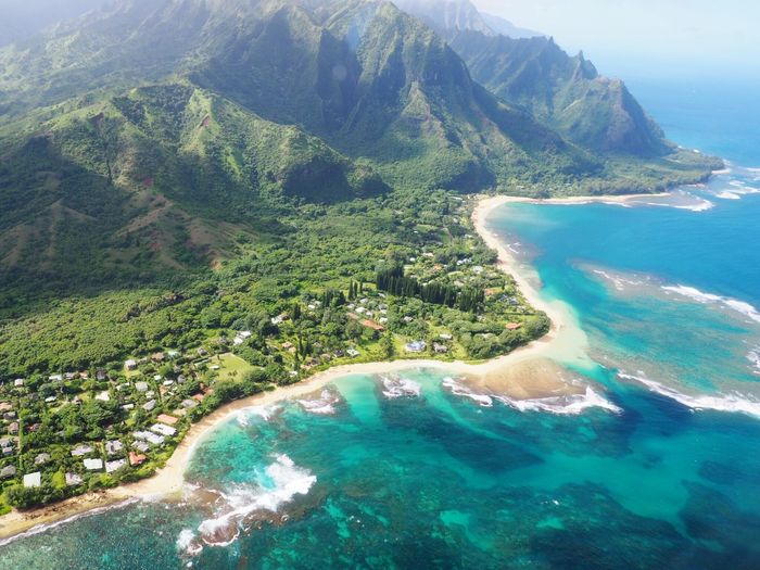 Coastline Flying Ocean Hawaii Hawaii Life Travel Sea Water Beauty In Nature Land Scenics - Nature Tranquility Nature Beach Plant No People Tree Green Color Day Mountain Idyllic Outdoors