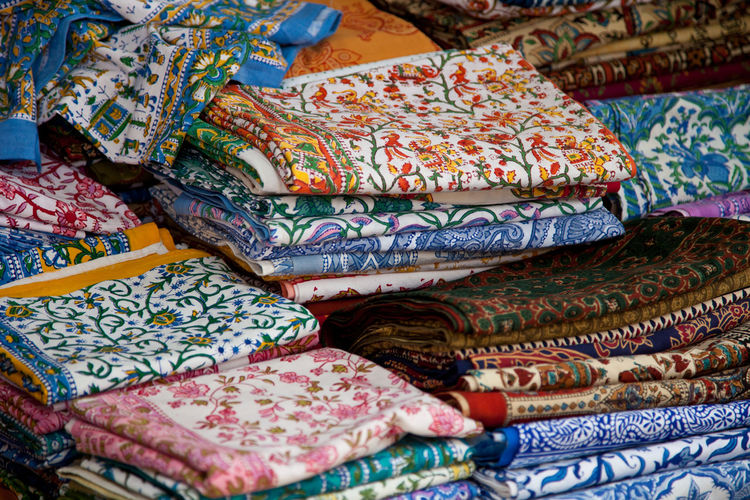 Full frame shot of multi colored fabrics at market stall