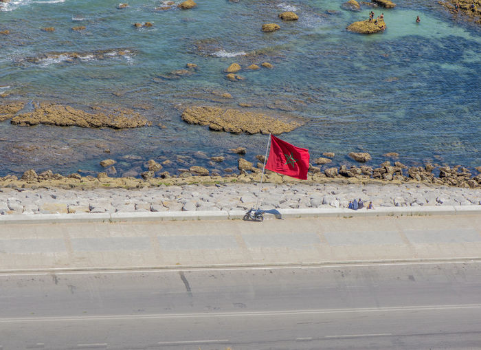 tangier, Morocco Travel Destinations Red Patriotism Nature Water Flag Sea Outdoors
