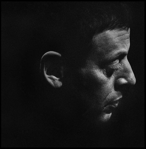 Composer Philip Glass, Toronto, 1989. Portrait Blackandwhite Portrait Photography Film Photography Philip Glass Composer Dark Mimimalism Shadow Eyes Closed  Black Background Human Face Portrait Close-up