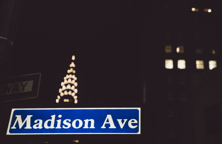 Architecture Chrysler Building City Close-up Communication Day Hanging Illuminated Indoors  Information Sign Lights Low Angle View Madison Avenue New York New York City Night No People Text Western Script Winter Welcome To Black