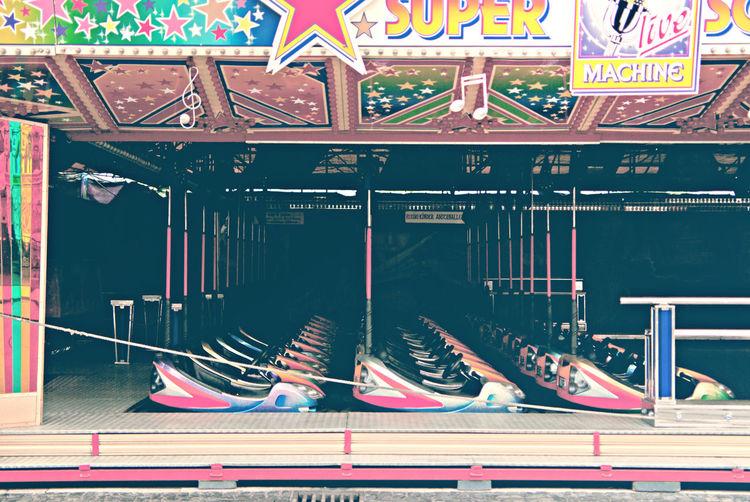 Empty bumper cars at amusement park