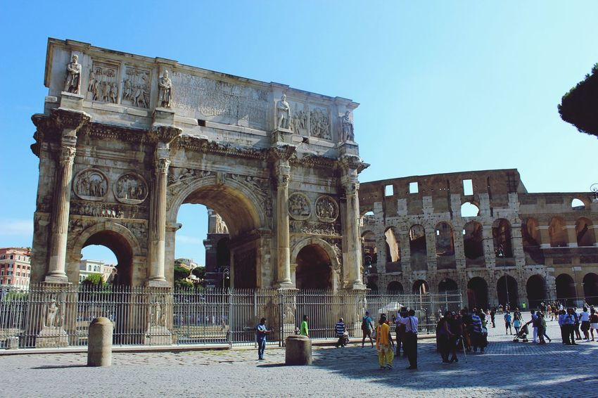 Arch Architecture Built Structure Building Exterior Tourism History Travel Destinations Large Group Of People Famous Place Tourist Clear Sky Monument The Past Travel Person Blue Men Culture City Ancient Colosseo Rome Urban