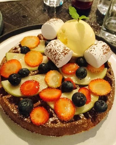 Ice Cream Dessert Waffles!! Mix Fruits Food Food And Drink Plate Fruit Sweet Food