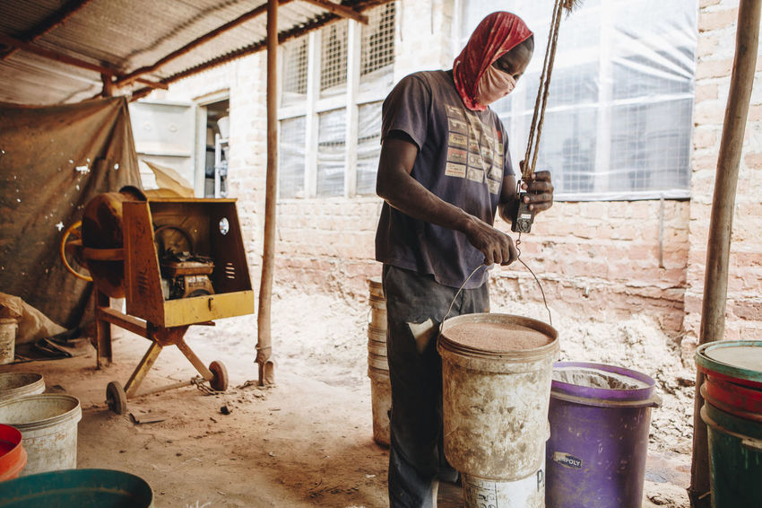 Adult Africa African Bandana Business Ceramic Clay Dust Factory Filter Manual Worker Mask Measuring Mixing Only Men People Pottery Powder Raw Materials Refined Social Business Water Filter Weighing Working Workshop