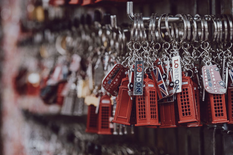 Close-up of key ring hanging for sale in market