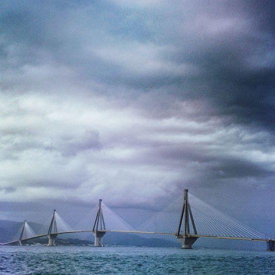 Standing Bridge Cloud - Sky Cloudy Construction Day Engineering Moody Moody Sky Ocean Outdoors Patras Patras,Greece Rio Rio Bridge Sky Water Waterfront