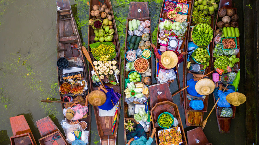 High angle view of multi colored for sale at market stall
