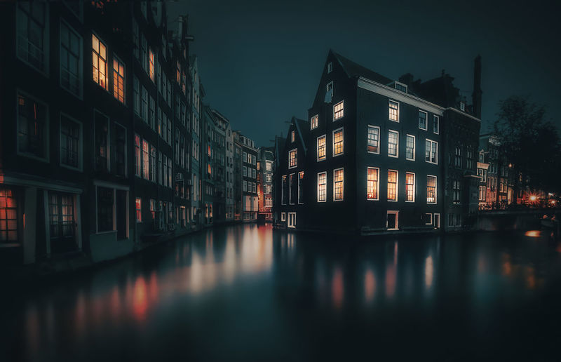 Amsterdam Remo SCarfo Apartment Architecture Building Building Exterior Built Structure Canal City Dusk House Illuminated Nature Night No People Outdoors Reflection Remote Residential District Row House Sky Water Waterfront