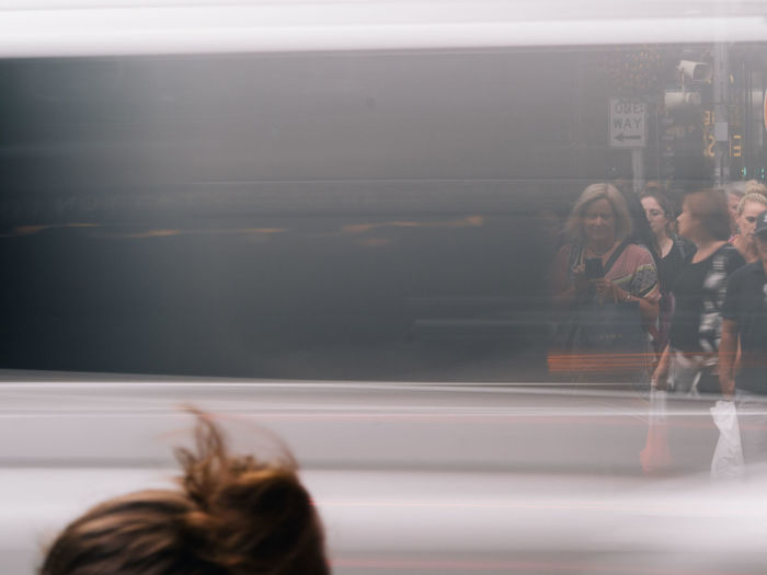 A long exposure taken as a bus zoomed past pedestrians on a busy street during Christmas. I was trying to catch a sense of 'instant' in this image. What do you think? Australia City EyeEm Ready   Motion Blur Olympus Sydney, Australia Blur Blurred Motion Bus Long Exposure Motion People Person Real People Street Streetphotography Sydney Week On Eyeem Women Mobility In Mega Cities Stories From The City