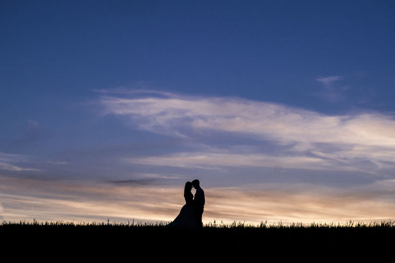 Silhouette Couple On Field Against Sky During Sunset