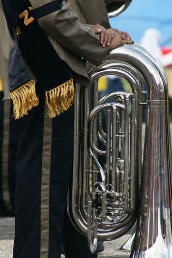 Close-up of trumpets