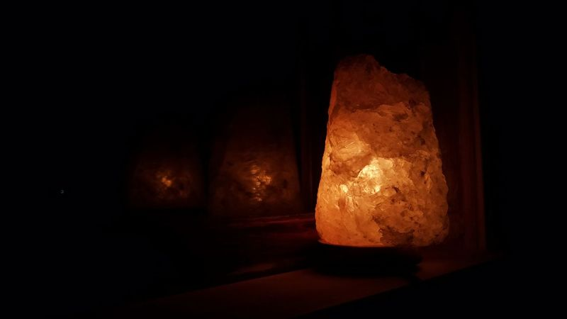 Saltlamp Indoors  No People Illuminated Shadow Night Black Background Electricity  Close-up