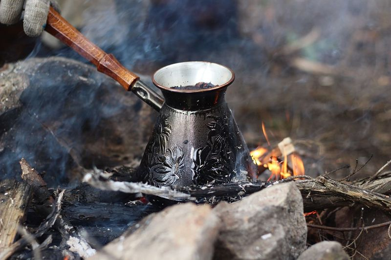Coffee 🖤 Smoke Spark Fire Forest No People Camping Camping Trip Coffee Bonfire