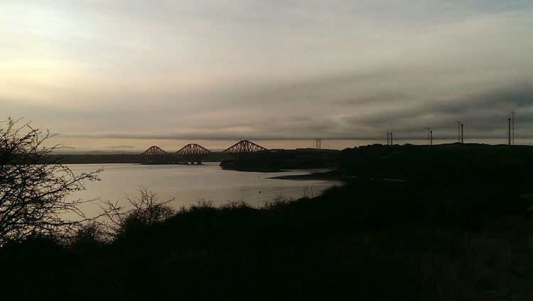View of the forth rail bridge Taking Photos ForthRailBridge Sea And Sky Sea RiverForth Water Morning Sky Outdoor Photography Clouds Nature Photography Clouds And Sky Seaview Outwalking Walking Winter Sky Cloudporn Taking Photos Taking Pictures Cold Days Walking Around Hillside