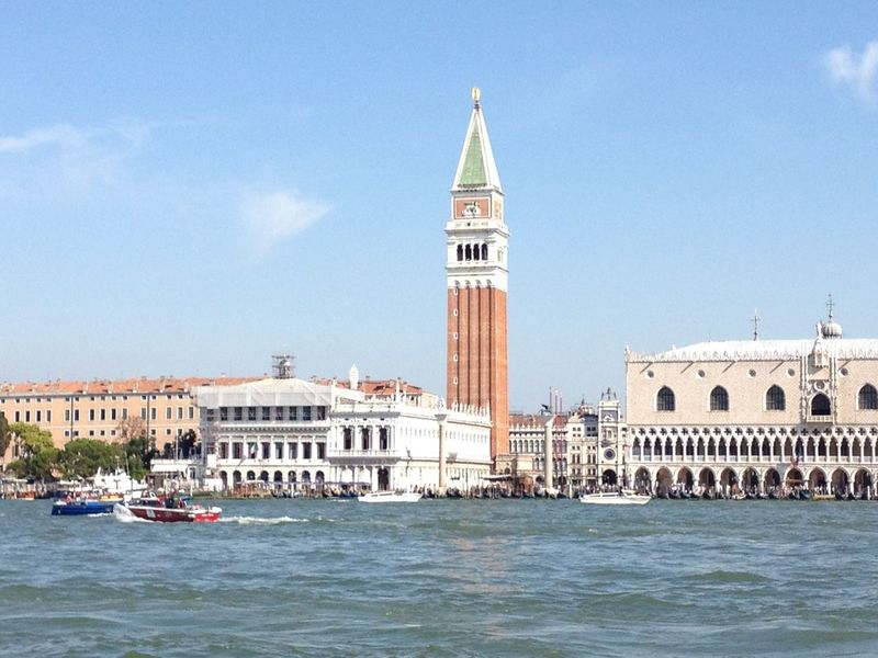 St Mark's Tower St Marks Square St Marks Campanile Venice Canals Venice, Italy Architecture Building Exterior Built Structure Day Doge's Palace History Italy Nautical Vessel No People Outdoors Sky Travel Destinations Venice Venice Lagoon Venice View Water Waterfront Colour Your Horizn