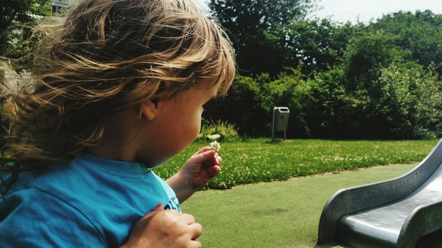 Side view of boy holding plant in park at playground