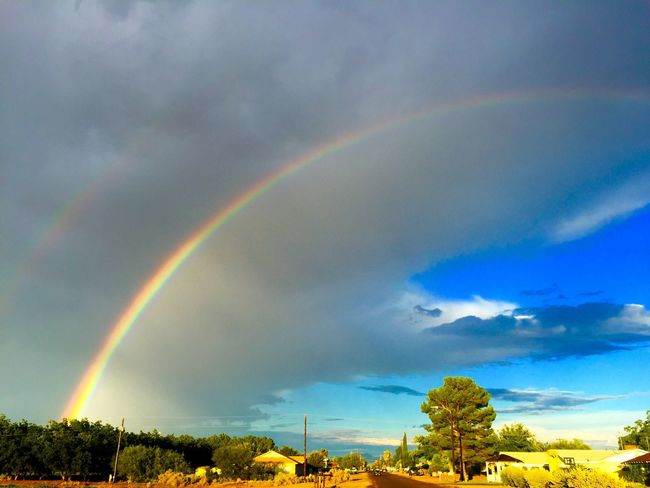Rainbows after a rainstorm I'm Safford, Arizona yesterday. Beauty Nature Photography Rainbowsky Skypainters Sky Arizona Skies Colors Clouds And Sky Rainbows Clouds Nature Monsoonseason Beauty In Nature Light Safford Arizona Sky