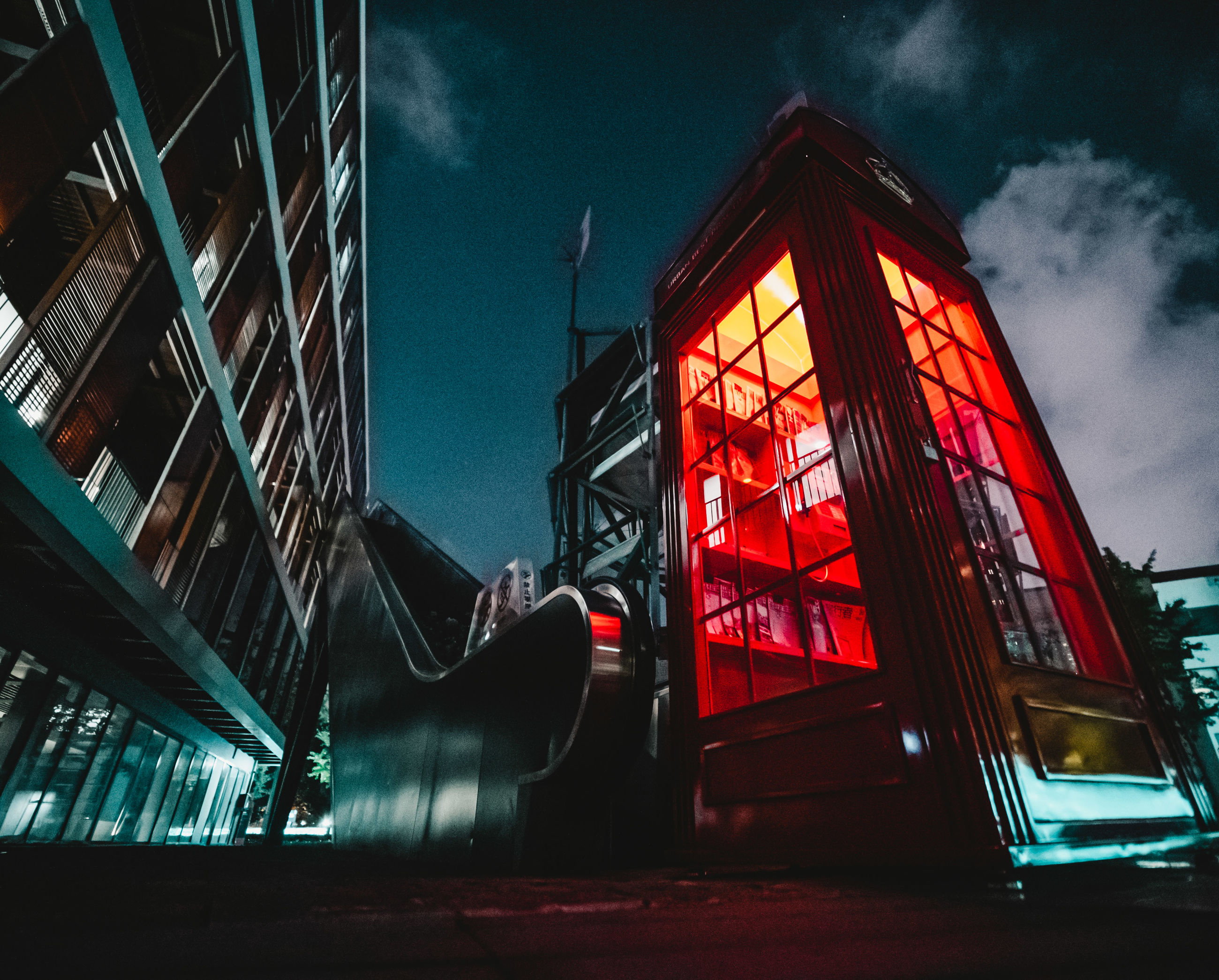 architecture, built structure, building exterior, sky, low angle view, night, no people, nature, building, cloud - sky, illuminated, city, outdoors, dusk, industry, red, glass - material, accidents and disasters, railing, travel destinations