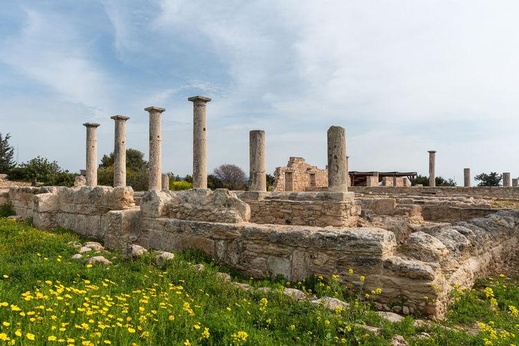 Ancient columns of apollon hylates, god of woodland, sanctuary in limassol district, cyprus