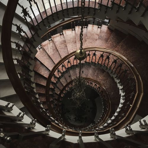 Architecture Building Built Structure Circle Design Directly Above Geometric Shape High Angle View Indoors  No People Railing Spiral Spiral Staircase Staircase Steps And Staircases