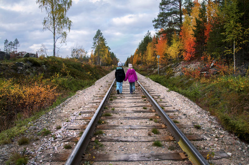 Rear View Of Siblings Walking On Railroad Track