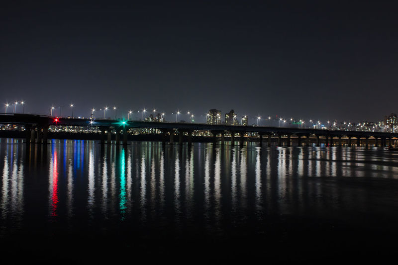 Somewhere of Han river Night Water Reflection Illuminated Architecture Waterfront River City No People Bridge Lighting Equipment Bridge - Man Made Structure Outdoors Built Structure Han River