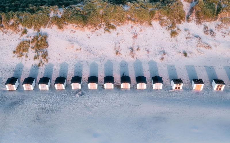 High angle view of row on beach