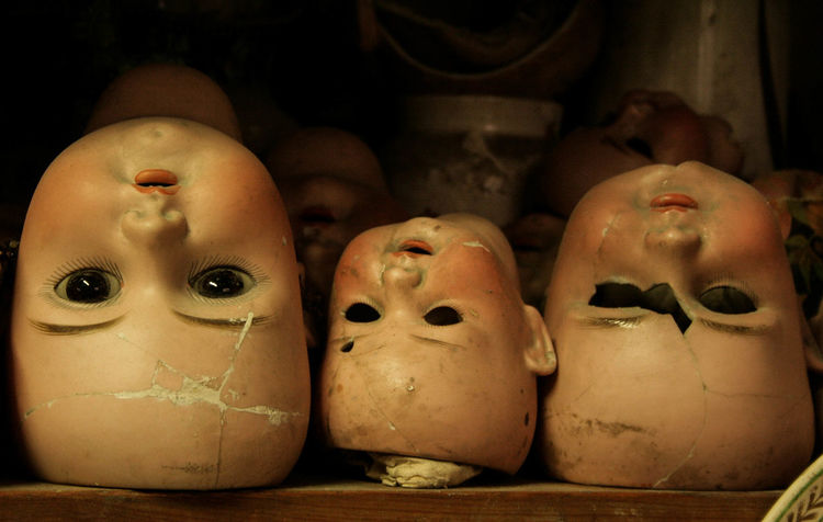Anthropomorphic Face Art And Craft Close-up Creepy Creepy Faces 👻💀 Day Doll Dolls Dolls Head Faces Heads Human Representation Indoors  No People