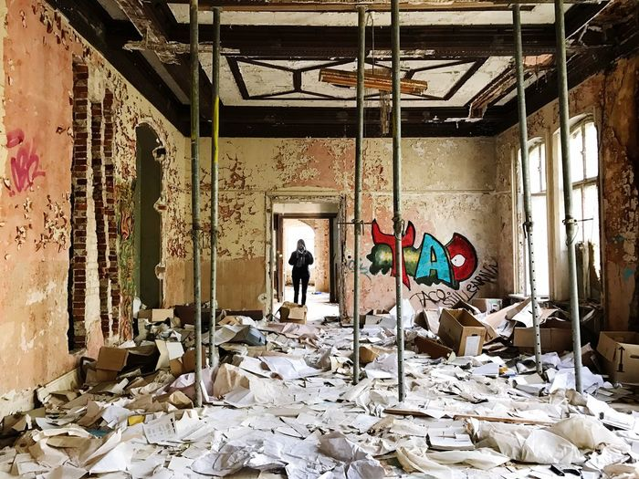 The Secret Spaces Architecture Abandoned Buildings One Person Large Group Of Objects Paper Real People