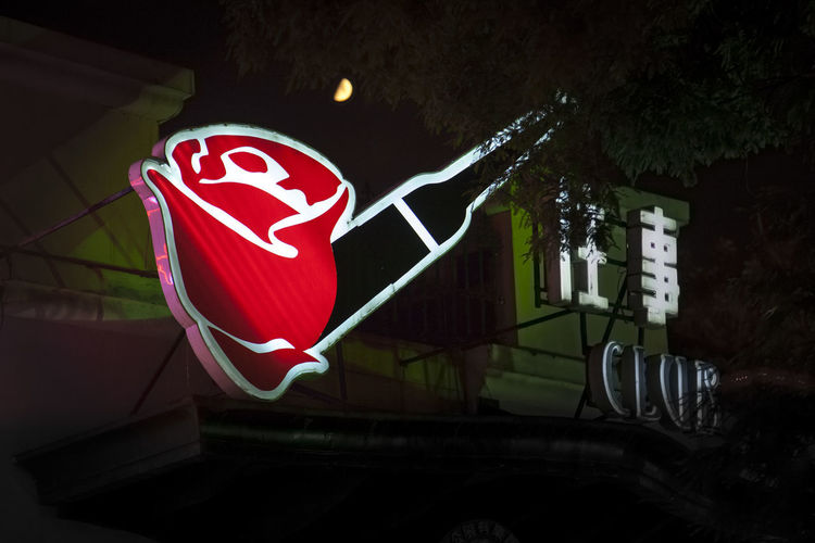 Night View Advertising HUAWEI Photo Award: After Dark Moon Architecture Building Exterior Illuminated Lighting Equipment Low Angle View Neon Night Night View No People Red Rose - Flower Rosé
